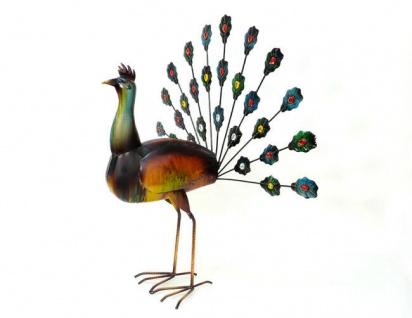 PFAU 60cm Metall bemalt 2 Sorten Dekoration Figur Vogel Skulptur außergewöhnlich - Vorschau 2