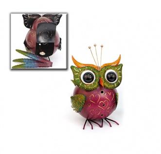 Eule Nancy Windlicht 40x25cm Metall Figur handbemalt Tier Figur Vogel Teelicht