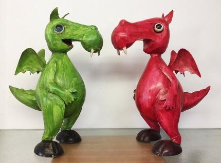 DRACHE DINO H34cm RED GREEN rot grün Metall Figur handbemalt Dekoration Deko