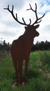 Hirsch XXL 190cm hoch auf Platte Reh Rost Edelrost Metall Tier Rostfigur