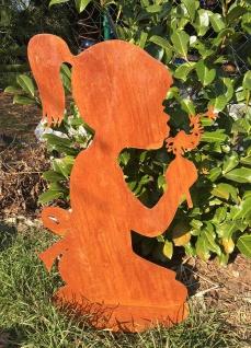 Mädchen mit Pusteblume 70cm Rost Edelrost Menschen Kind Metall Rostfigur Garten