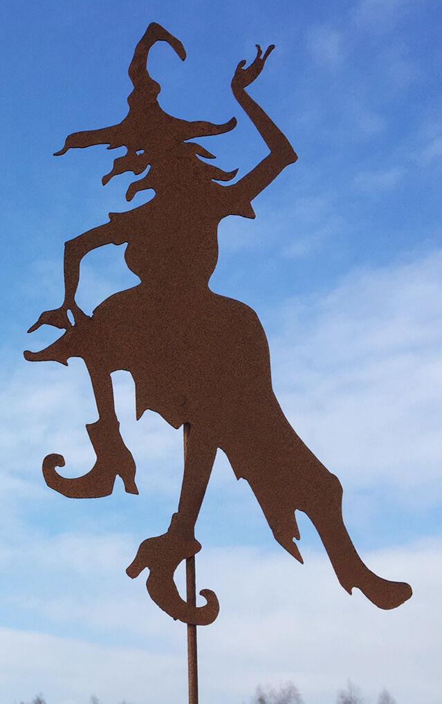 HEXE Waltraud tanzend Hexen 60cm + Stab Rost Edelrost Edelrost Edelrost Metall Figur Gartenstecker 33b5c4
