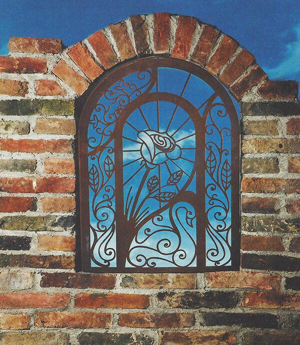 Wandbild Romantik Rosa Blaume Fenster 73x51 Rost Edelrost auch zum Hängen Garten