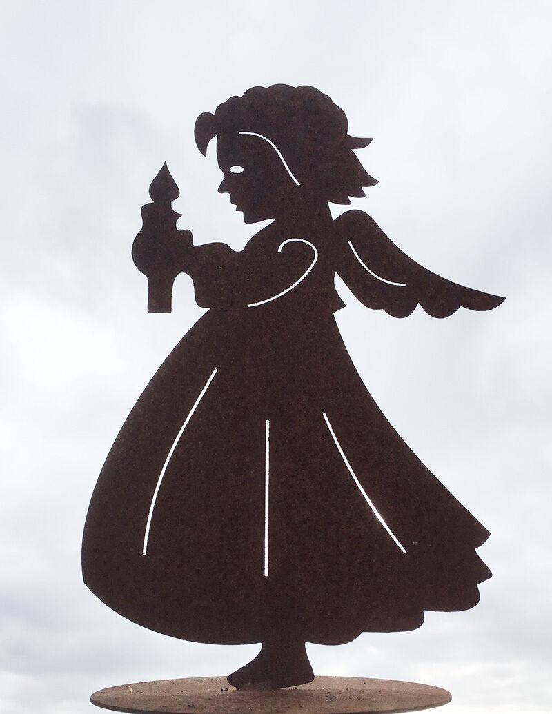 engel mit kerze 35x22cm rost edelrost metall figur