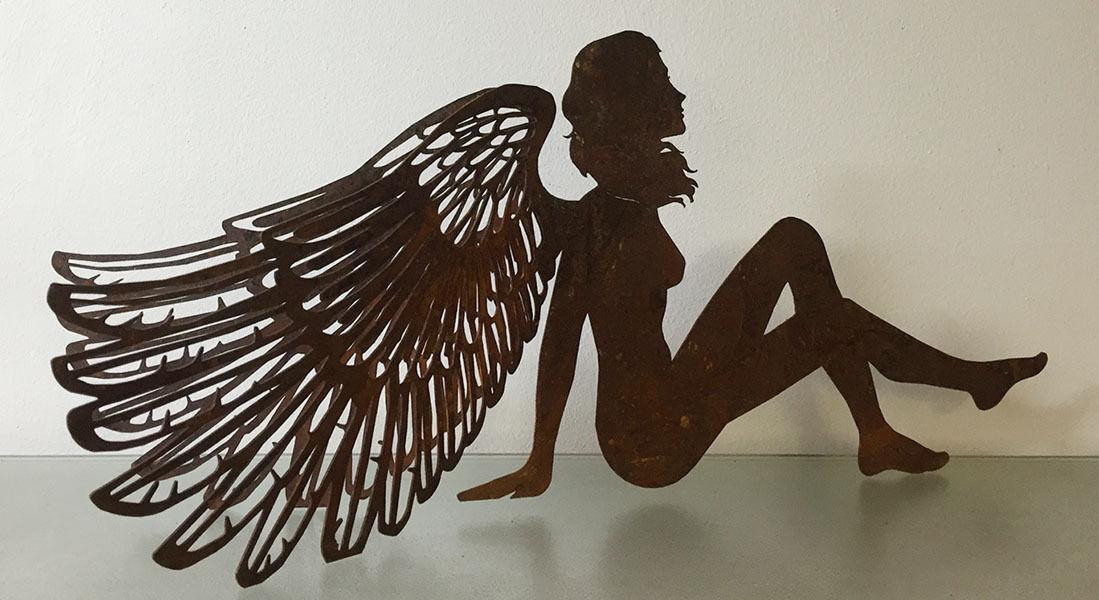 Edelrost Engel sitzend 80 cm Dekoengel Weihnachtsartikel Dekoartikel Saremo