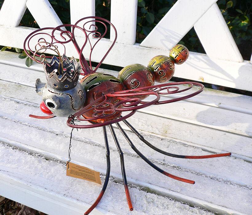 medusa libelle l34cm metall figur handbemalt windlicht teelicht insekt 4