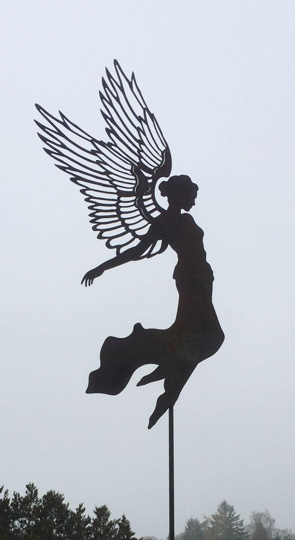 Gartenstecker Weihnachten.Engel Aurelie Große Flügel H55cm Stab Gartenstecker Rost Edelrost Weihnachten