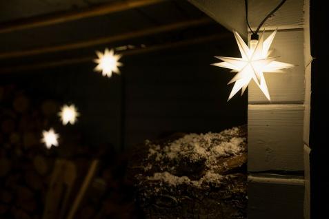 9er LED Sternenkette WEISS 3D Lichterkette Stern Weihnachtsstern außen & innen