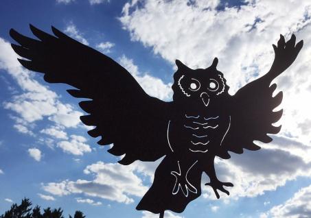 FLIEGEND EULE Uhu lebensgroß 67 cm Gartenstecker Edelrost Rost Figur fliegend