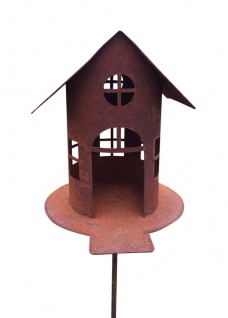 Vogelhaus mit Steg Futterhaus ZUM Beleuchten H21cm + Stab Gartenstecker Edelrost