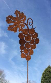 Weinrebe 30x22cm + Stab Edelrost Rost Gartenstecker Weintrauben Wein Traube