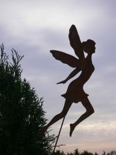 Fee ELFE 30x16 cm Gartenstecker Beetstecker Rost Edelrost Metall Figur Rostfigur