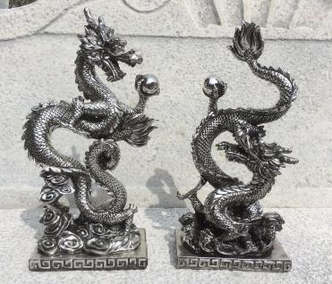 CHINESISCHER GLÜCKSDRACHE SILBER ANTIK 32cm Deko Figur Drache Feng Shui 2 Sorten