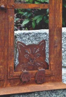 Katzenkopf Katze Dekoration Garten Fenster Zaunfigur Zaun Edelrost Rost Metall
