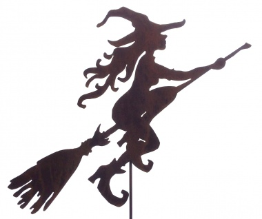 Junge Hexe fliegend 70 x 53cm + Stab Hexen Rost Edelrost Metall Gartenstecker