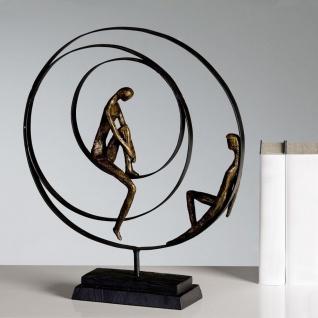 Skulptur PATIENCE bronze H41cm Figuren im Reifen Ring Paar Dekoration Figur