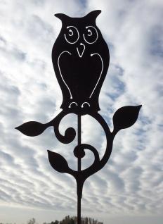 Eule Uhu auf Ast mit Blättern Gartenstecker Edelrost Rost Metall Figur Tier