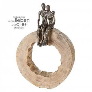 Skulptur Together 39cm Mango Holz Baumscheibe Bronze optik Paar Liebe Hochzeit