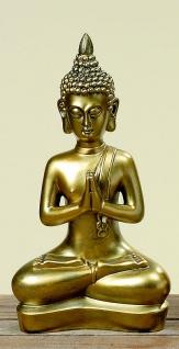 Buddha antik gold finish 37cm Skulptur Kunstharz Mönch Deko Figur Feng Shui - Vorschau