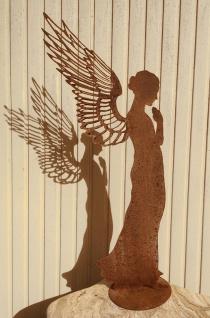 Engel Santine betend 138 cm filigrane Doppelflügel Edelrost Rost Weihnachtsengel