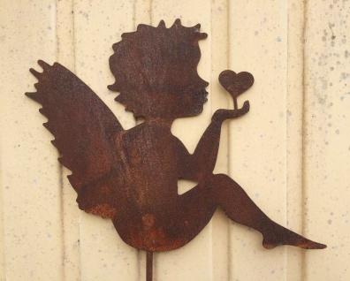 Engel mit Herz in Hand 30x36cm + Stab Gartenstecker Rost Edelrost Weihnachten