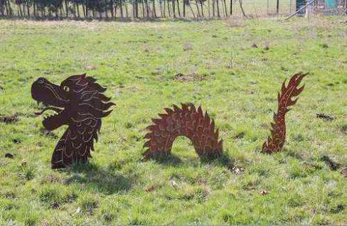 Chinesischer Drache 50x110cm Glücksdrache 3teilig Rost Edelrost Gartenstecker
