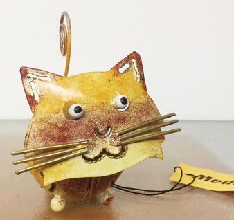 Medusa KATZE gelb weinrot XS H8cm Metall Figur handbemalt bunt Kater Kätzchen