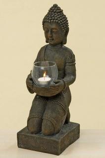 Buddha knieend mit Windlicht 44 cm Kunstharz Teelicht Mönch Feng Shui Skulptur