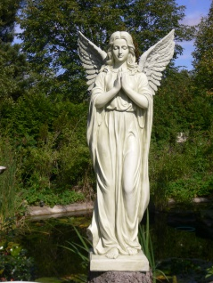 Skulptur Engel betend 92cm Engelfrau auf Sockel Polyresin Garten Figur Outdoor