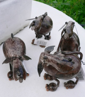 4er Set HUNDE braun lackiert H8-10, 5cm Metall Figur handbemalt Hund Geschenk