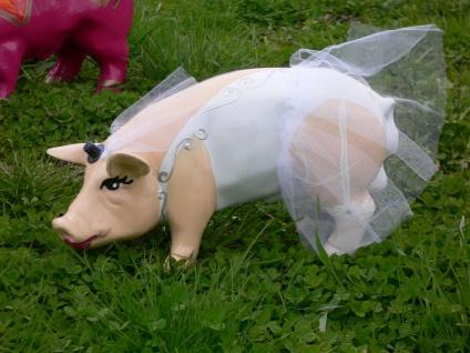 HOCHZEIT GLÜCKSSCHWEIN bunt hand bemalt L30cm Braut Bräutigam Designer Schwein