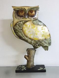EULE AUS METALL + MUSCHELN 33x22cm Dekofigur Deko Figur Skulptur Muschel Schale