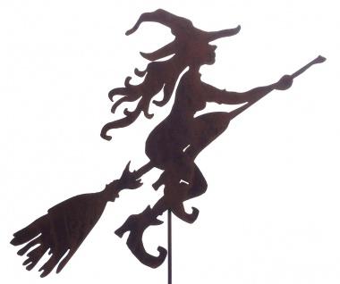 Junge Hexe fliegend Gartenstecker 60 x 43cm + Stab Hexen Rost Edelrost Metall