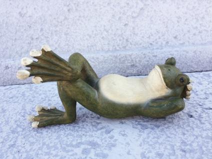 Liegender Frosch L18cm handbemalt Polyresin Kröte Frösche wetterfest UV-fest - Vorschau 3