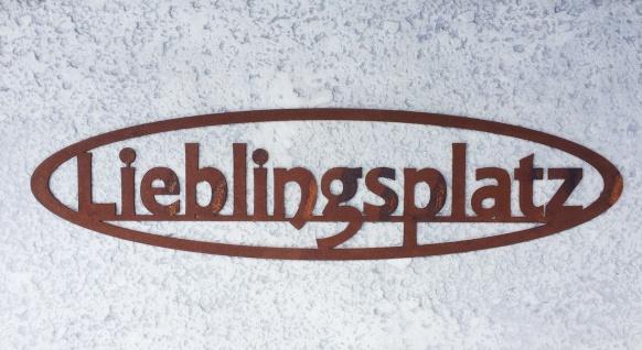 Schild Lieblingsplatz zum Aufhängen 50x13cm Edelrost Garten Metall Wandhänger