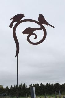3 Vögel auf Bogen 50x45cm Edelrost Rost Gartenstecker Dekoration Tier Vogel