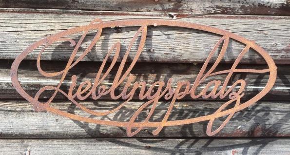 Schild Lieblingsplatz 50x23cm zum Aufhängen Edelrost Garten Metall Wandhänger - Vorschau 2