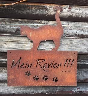 """Schild Mein Revier """" Katze 42x35cm zum Aufhängen Edelrost Garten Metall Wandhänger"""""""