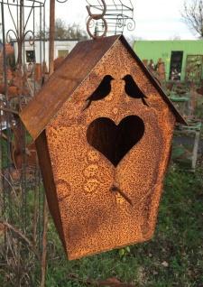 Vogelhaus mit Herz 38cm zum Aufhängen Edelrost Nistkasten Vögel Metall Rost