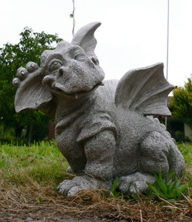 Drache Paffy klein Gargoyle H:25cm dunkelgrau Polyresin frostfest Drachen Figur
