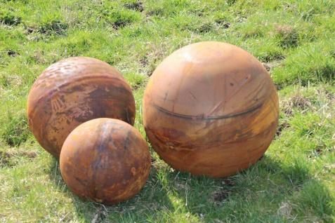 Vollkugel Kugel 30cm 40cm oder 50 cm Edelrost Rost Metall Ball Gartendekoration