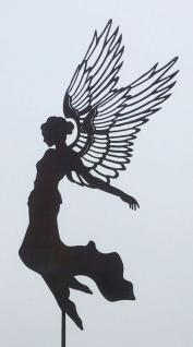 Engel AURELIE große Flügel H85cm + Stab Gartenstecker Rost Edelrost Weihnachten