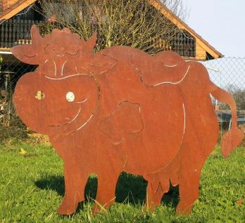 Lustige Kuh XXL 100x75cm Rost Edelrost Rostfigur Bauernhof Tier Kühe Metall