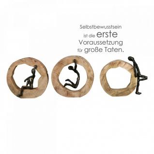 Skulptur Confiance 3fach sortiert Mango Holz Baumscheibe Alu Figur Charisma