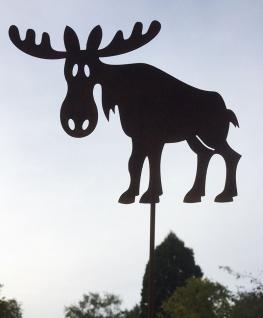 ELCH 19x14cm auf Stab Weihnachten Gartenstecker Rost Edelrost Rostfigur Rentier