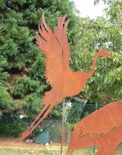 REIHER Fischreiher Fliegend Gartenstecker Rankstab Rost Edelrost Metall Figur