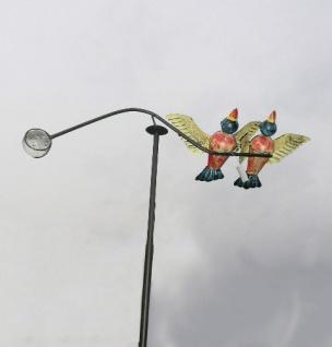 Windspiel Vögel gelb bunt Metall 60x120cm Wind Wippe Vogel Pendel Gartenstecker
