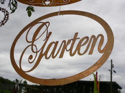 Schild GARTEN 64x44cm oval zum Hängen Türschild Gartendeko Rost Edelrost Metall