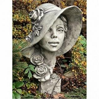 Büste Lady Rosa 40cm Kopf Frau Skulptur Frauenbüste Steinfigur Steinguss