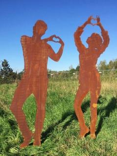 Frau Dani 198cm und / oder Mann Tom 184cm mit Herz Edelrost Gartenstecker